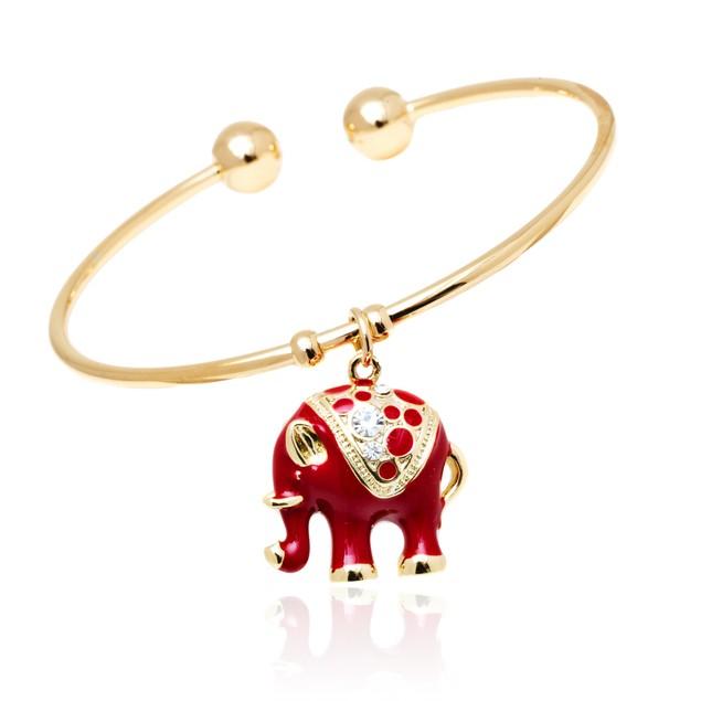 Gold and Red Enamel Elephant Charm Bangle