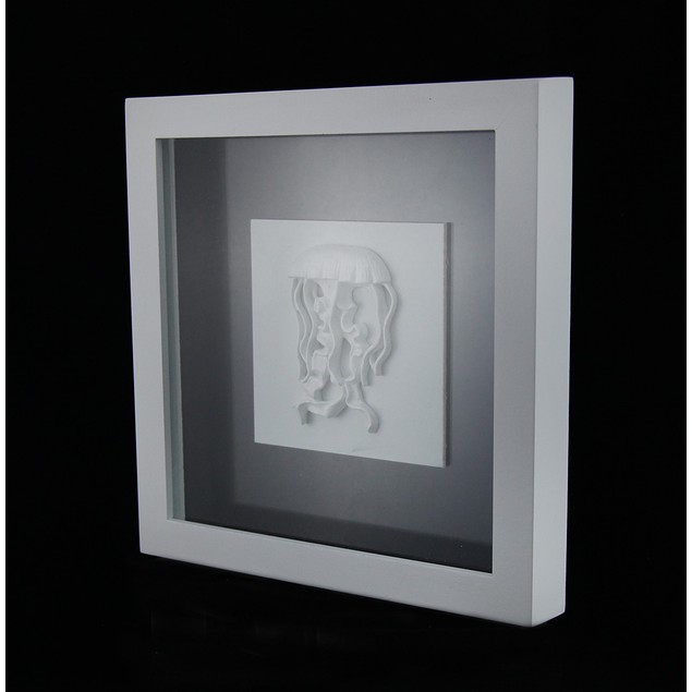 Framed White Jellyfish Shadowbox Wall Hanging Shadow Boxes
