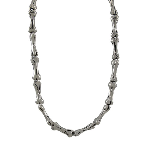 Chrome Plated Bone Link Necklace 18 Inch Biker Mens Chain Necklaces