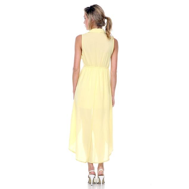 Asymmetric Hem Sleeveless Shirt Dress
