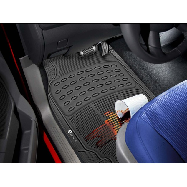 Zone Tech 3 Row 4 Piece Black Universal Rubber All Weather Car Floor Mats