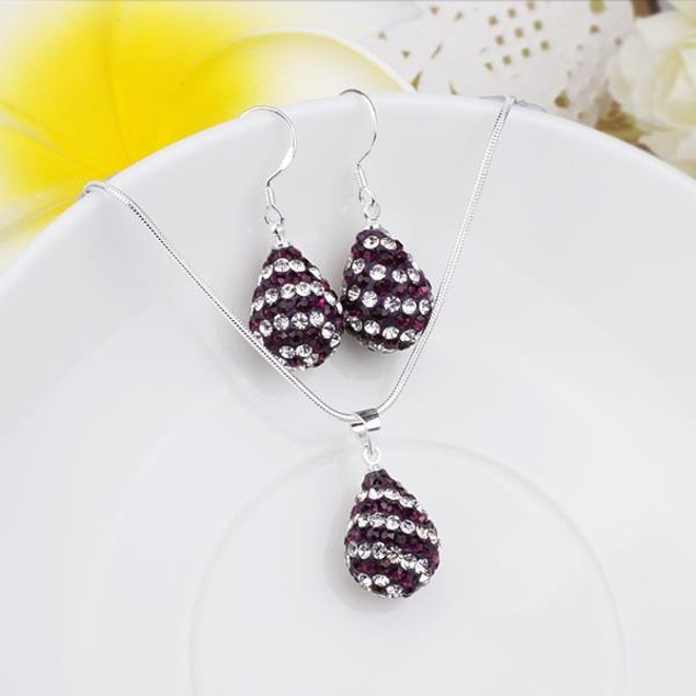Austrian Stone Multi-Pave Pear Earring and Necklace Set - Purple Plum