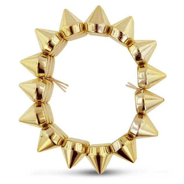 Gold Tone Spike Stretch Bracelet