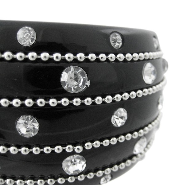 2 Inch Wide Rhinestone Studded Black Bangle Womens Bracelets