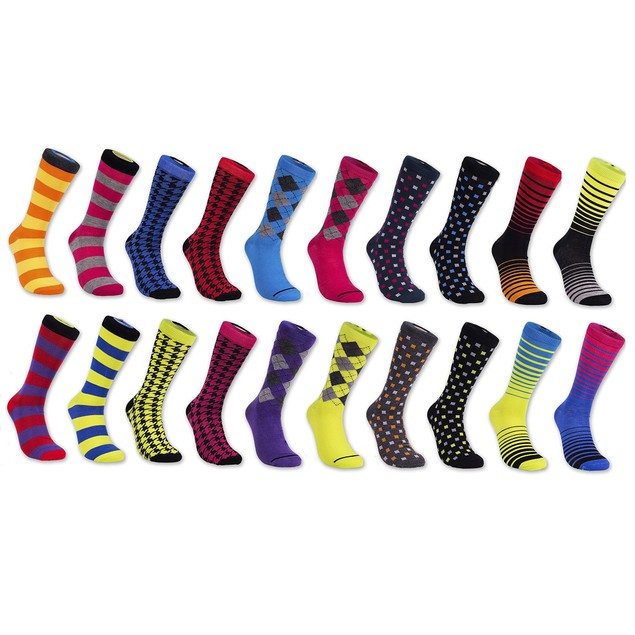 12 Pairs Beverly Hills Polo Club Men's Multi-Color Pattern Crew Socks