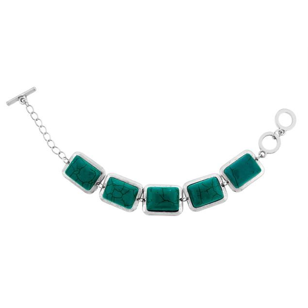 Semi-Precious Genuine Turquoise 5 Stone Bracelet