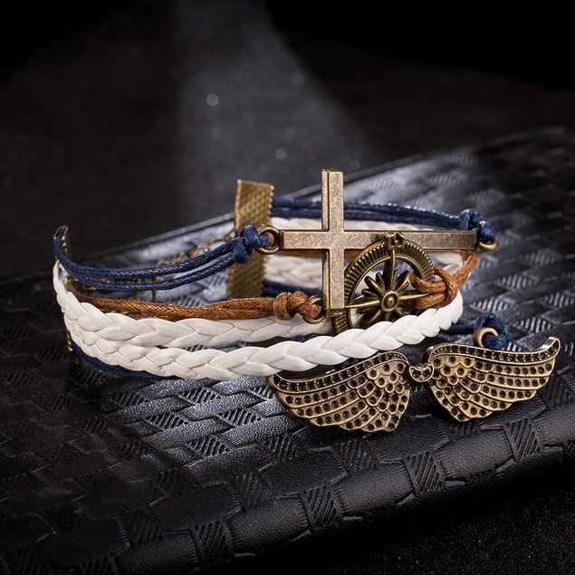 Cross Anchor Emblem Bracelet