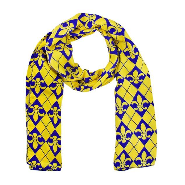 Purple And Gold Fleur De Lis Satin Scarf Argyle Womens Fashion Scarves