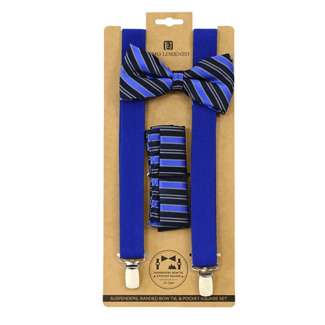 Men's Blue Clip-on Suspenders, Bow Tie and Hanky Set