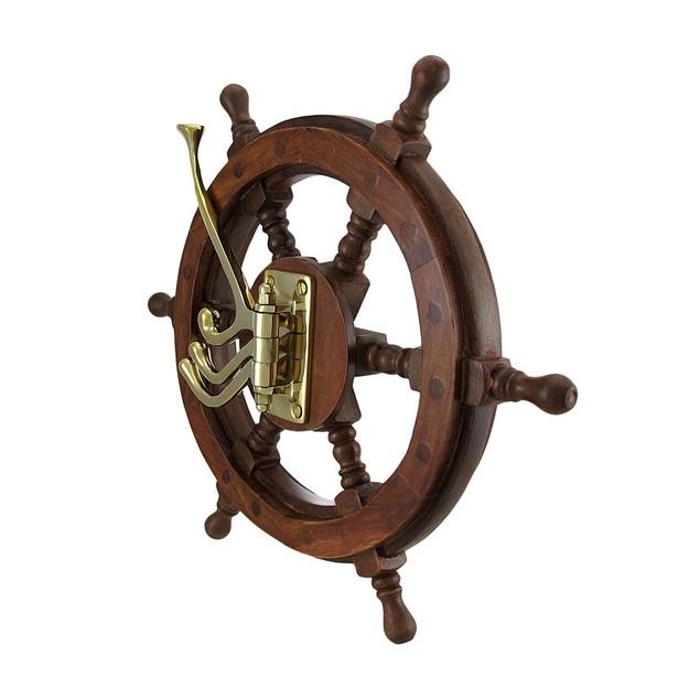 Wooden Ship Wheel Wall Hanging W/Adjustable Hooks Decorative Wall Hooks