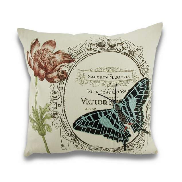 Vintage Style Naughty Butterfly Embroidered Throw Pillows