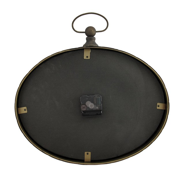 Oval Pocket Watch Style Distressed Finish Wall Wall Clocks