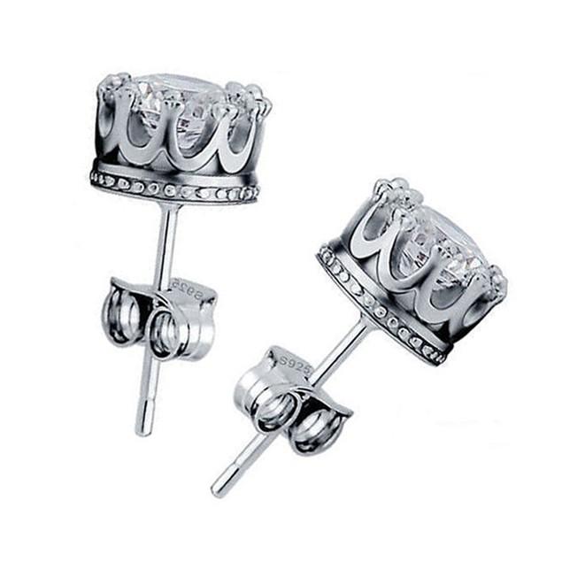 Sterling Silver Royal Crown Stud Earrings