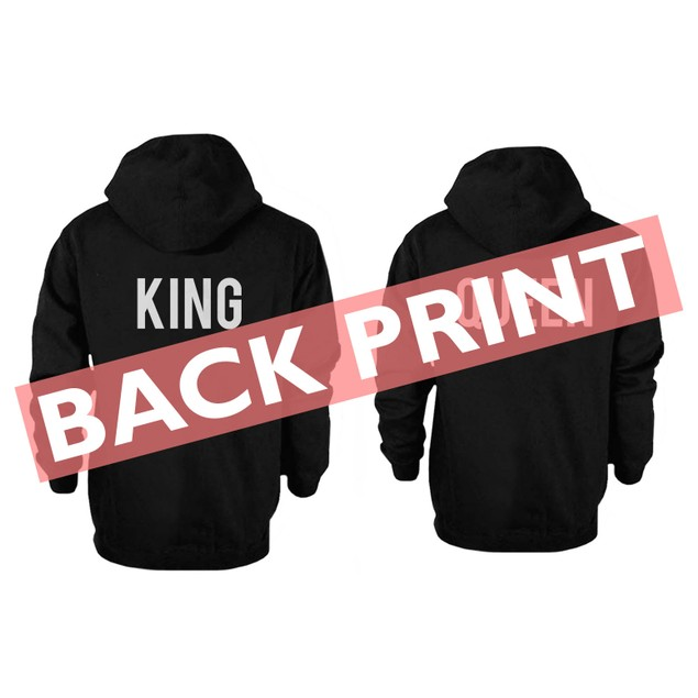 Back Printed King and Queen Couple Hoodies Cute Matching Outfit for Couples