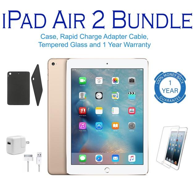 Apple iPad Air 2 Wifi Bundle 16GB-128GB (Charger, Stylus, Case, Screen)