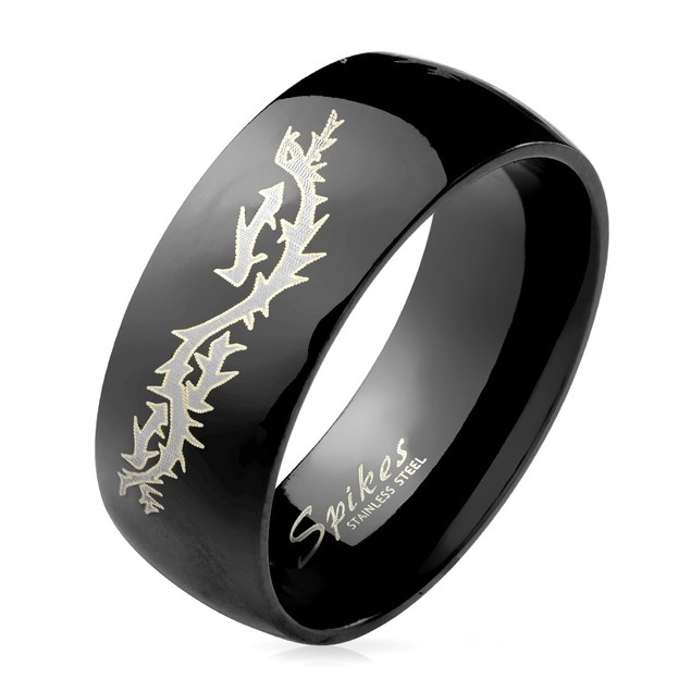 Flying Dragon Engraved Black Dome Stainless Steel Ring
