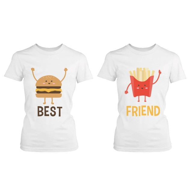 Burger and Fries BFF Shirts Best Friend Matching Tee Cute Friendship Tshirt