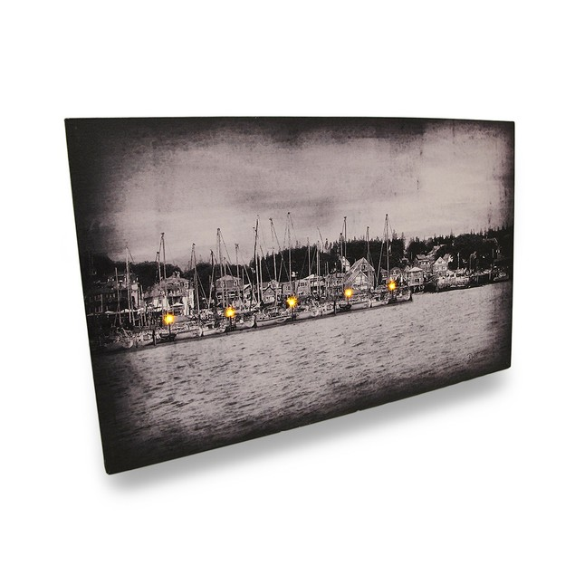 Lighted Harbor Flickering Lights Led Black/White Prints