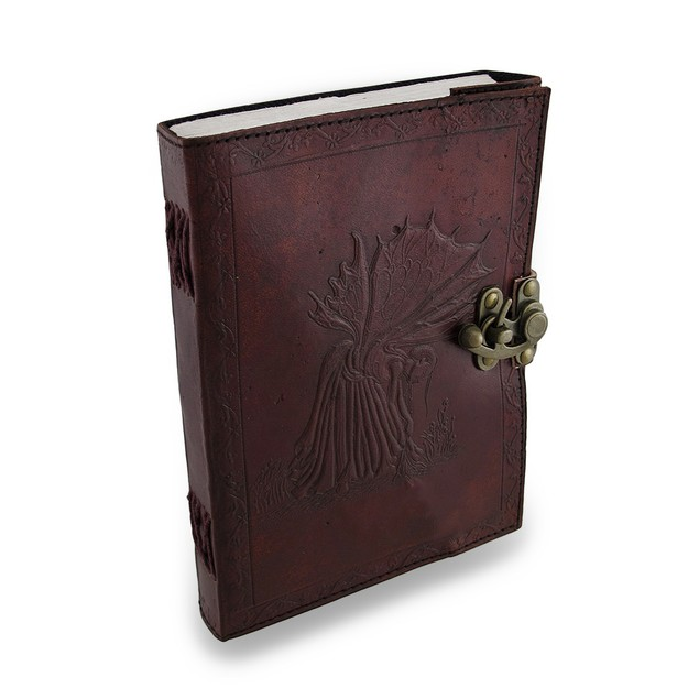 Fates Fairy Embossed Leather Journal 240 Unlined Art Sketchbooks And