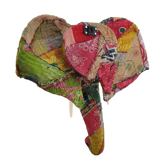 Recycled 20 Inch Fabric Covered Elephant Head Wall Wall Sculptures