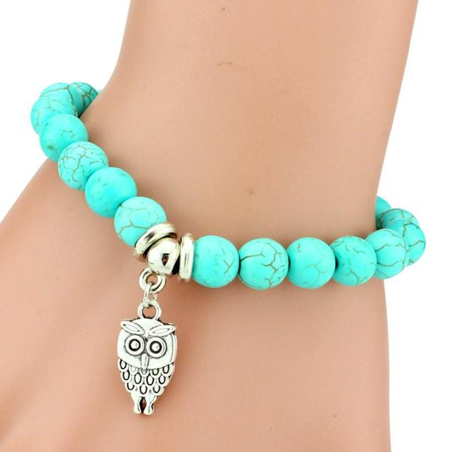Owl Charm Turquoise Stone Bracelet