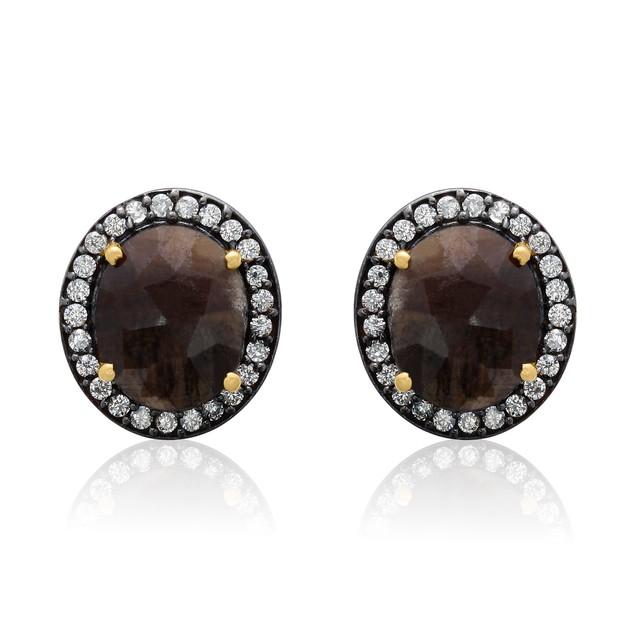 20 Carat Natural Bronze Sapphire  Earrings In 18 Karat Gold Over Silver