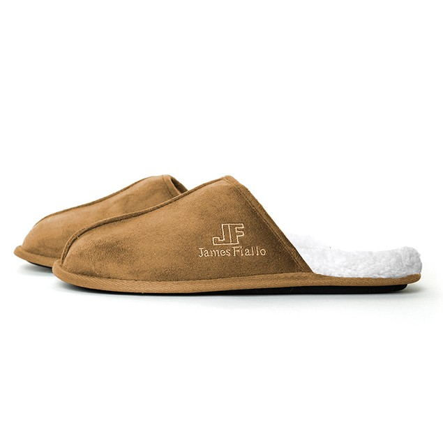 James Fiallo Men's Indoor/Outdoor Velour with Fleece Lining Slip-On Slipper