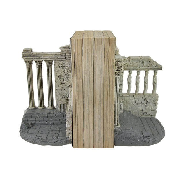 Set Of 2 Parthenon Inspired Light Gray Decorative Decorative Bookends