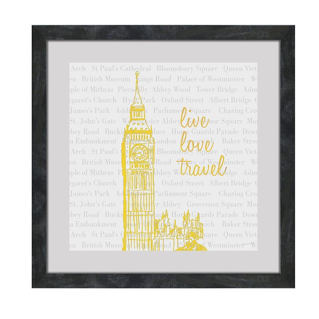 2 Pc. Live Love Travel Foiled Eiffel Tower/Big Ben Prints