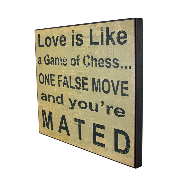 Funny Love Is Like A Game Of Chess Printed Wooden Decorative Plaques