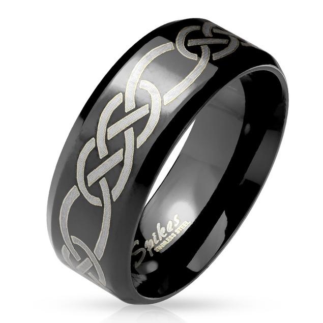 Tribal Knots Engraved Beveled Edge Black IP Stainless Steel Ring