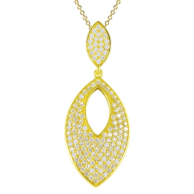 18K Gold Over Sterling Silver Simulated Diamond Eye Shaped Necklace