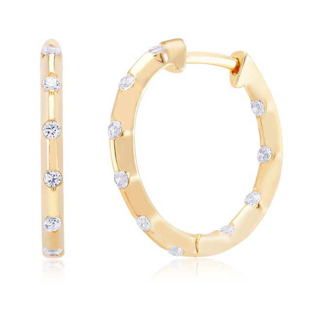 Gold Tone Sprinkled Crystal Hoop Earrings