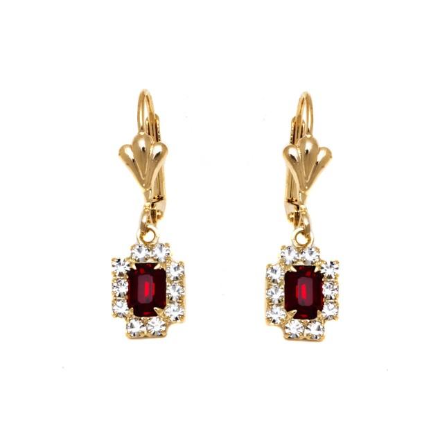 Ruby & Gold Rectangle Frame Drop Earrings