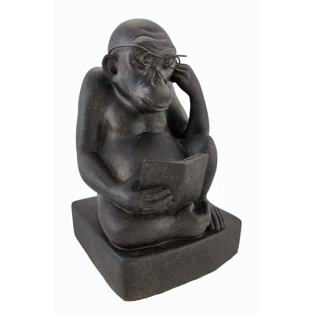 Pair Of Reading Monkey Bookends Cast Iron Finish Decorative Bookends