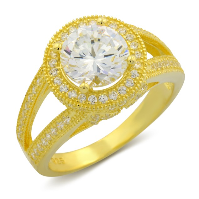 Gold Plated Duo Row Micro Setting Round Ring