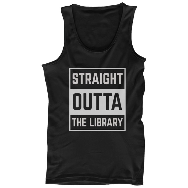 Back To School Black Tank Tops Straight Outta The Library for Hot Summer