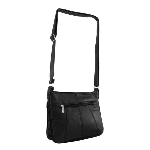 Expandable Black Nappa Leather Handbag Womens Shoulder Handbags