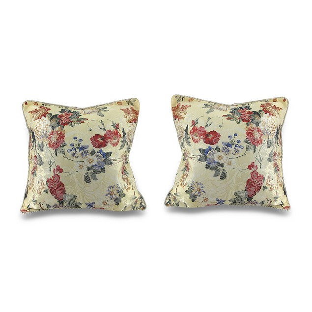 Pair Of Satin Floral Pillow Covers Throw Pillow Covers