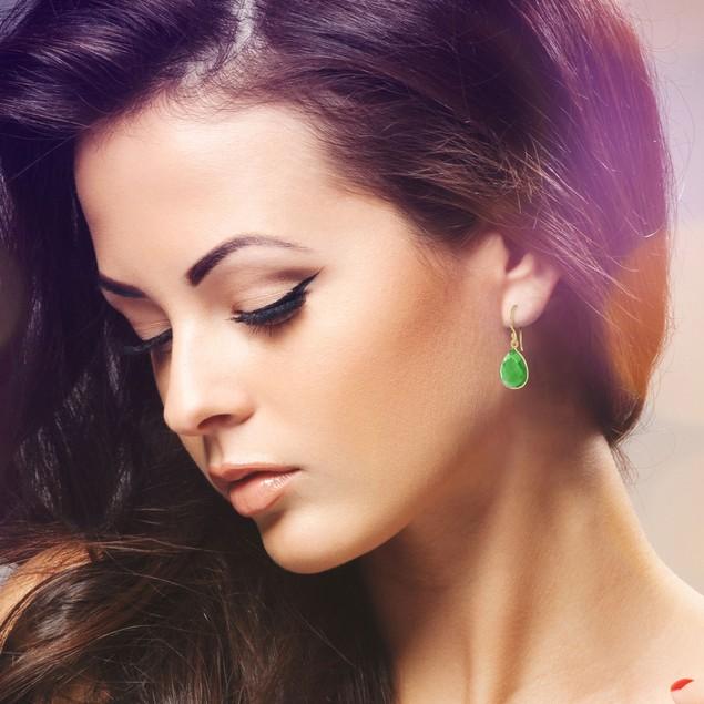 Gold Tone 12ct Emerald Quartz Pear Shape Earrings