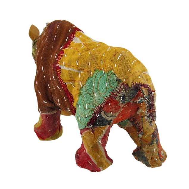 Vintage Sari Fabric Decorated Paper Mache Rhino Sculptures