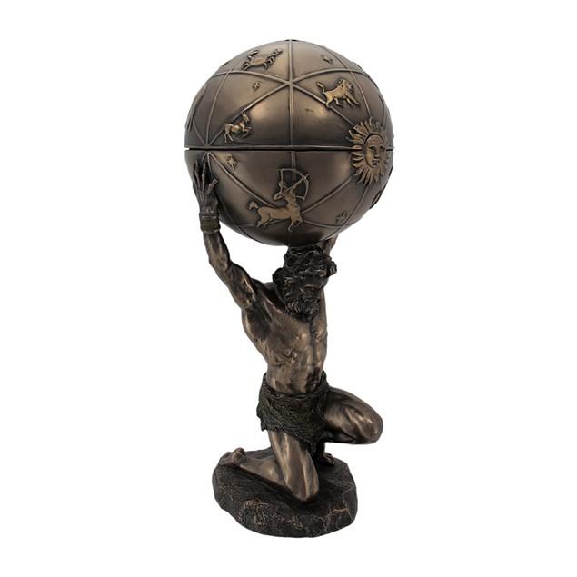 Kneeling Atlas Holding Heavens Statue / Trinket Decorative Boxes
