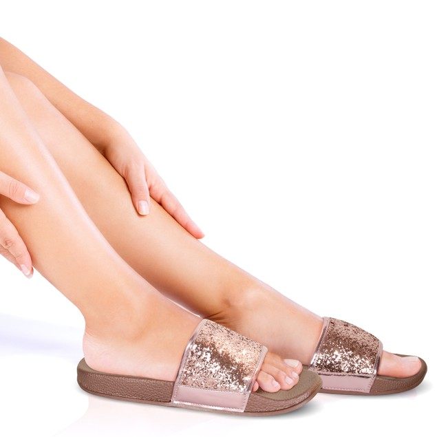 Women's Shiny Metallic Slide Sandals