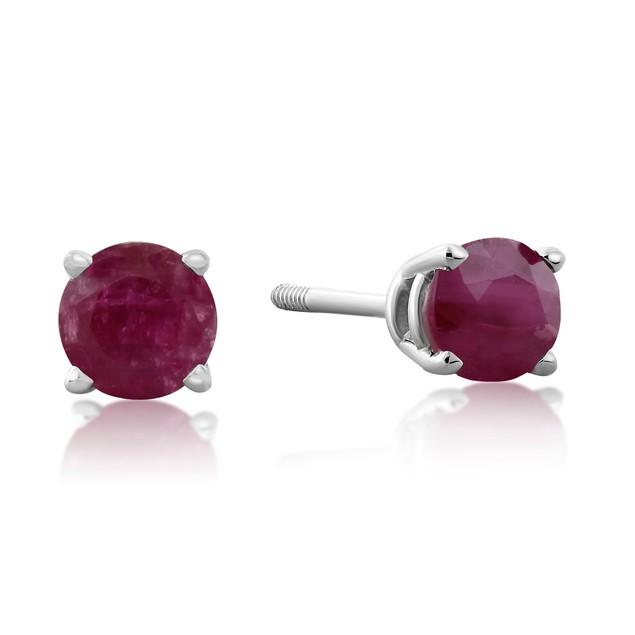 Garnet Stud Earrings in 14K Gold