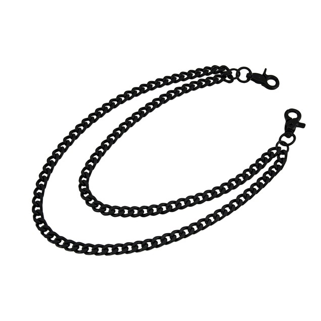 Black Double Curb Link Wallet/Jeans Chain Mens Wallet Chains