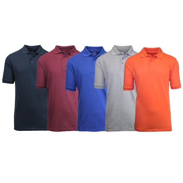 5-Pack Men's Uniform Pique Polo Shirts (S-2X)