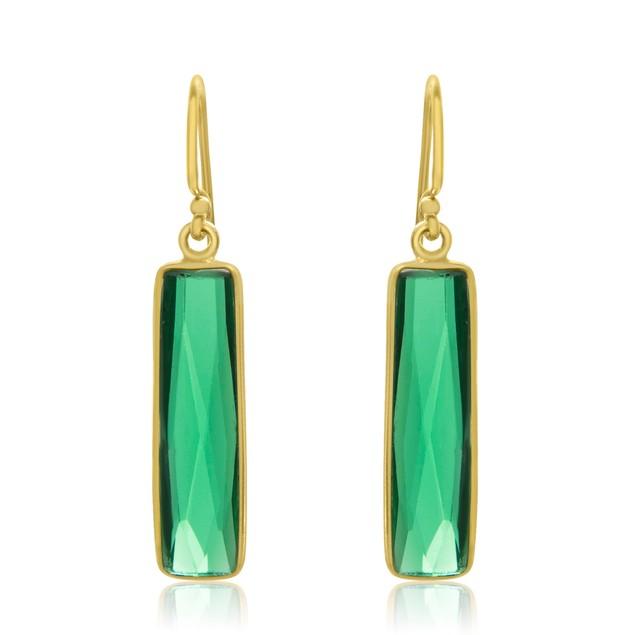 Gold Tone Sterling Silver 2 Carat Round Emerald Quartz Bar Earrings