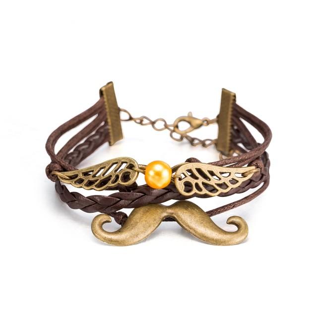 Brown Leather Bracelet Filligree Wings Bracelet