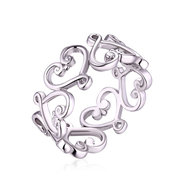 White Gold Plated Scrolling Heart Band Ring