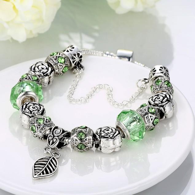 Light Green Leaf Branch Designer Inspired Bracelet